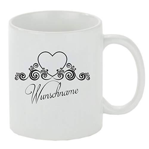 Crealuxe Kaffeebecher Wunschname Name Herz Namenstasse Kaffeetasse mit Motiv, Bedruckte Tasse mit Sprüchen oder Bildern - auch individuelle Gestaltung