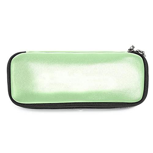 Estuche de piel de color verde menta puro con cremallera doble bolsa de papelería bolsas de almacenamiento para niños y niñas