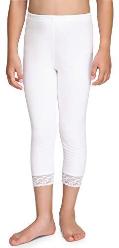 Merry Style Leggins 3/4 Mallas Pantalones Piratas con Encaje Niña MS10-228 (Blanco, 152 cm)