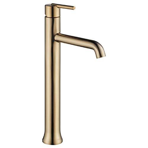 Delta Faucet Trinsic Vessel Sink Faucet, Single Hole Bathroom Faucet, Gold Bathroom Faucet, Single Handle, Diamond Seal Technology, Champagne Bronze 759-CZ-DST