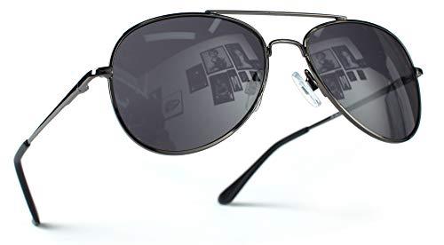 Miobo Hochwertige Pilotenbrille Fliegerbrille Sonnenbrille verspiegelt (Damen und Herren, Schwarz Schwarz)