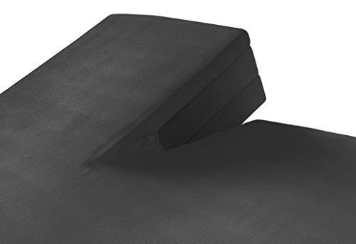 SLEEPMED Sábana Bajera Ajustable para Cama Doble Articulada, Juego de 2, Sábanas en Algodón elástico de Jersey tamaños (Gris Oscuro, 160 x 200 cm)