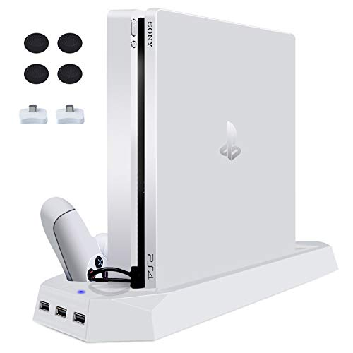 LIDIWEE PS4 SLIM Standfuß, PS4 Slim Vertical Stand Multifunktions PS4 Dualshock Controller Ladestation Klammern Vertikaler Ständer kühler Lüfter für Sony PlayStation 4 SLIM, Wei