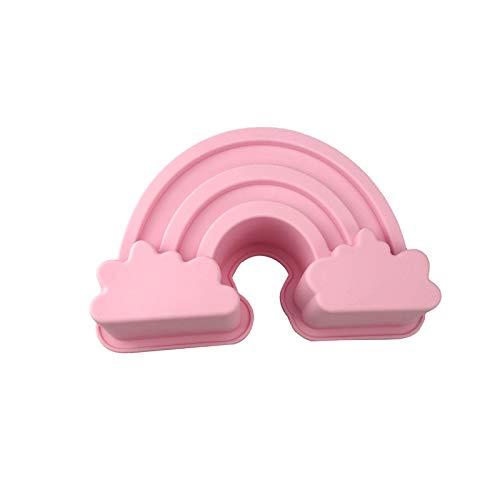 Q-Town Backform Regenbogen,rosa Kuchenform Kindergeburtstag Feier Party wiederverwendbar Silikonform Silikon Rainbow Motivform, Himmel Wolken Motiv Form Kuchen Schokolade Regenbogenform besondere Form