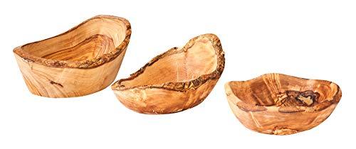 3er Set Olivenholz Schüssel ca. 12-16cm Rustikal Klein Mittel Groß Wie Gegriffen Unikat Schale Holzschale Salatschüssel Natur Tischdeko Snackschale