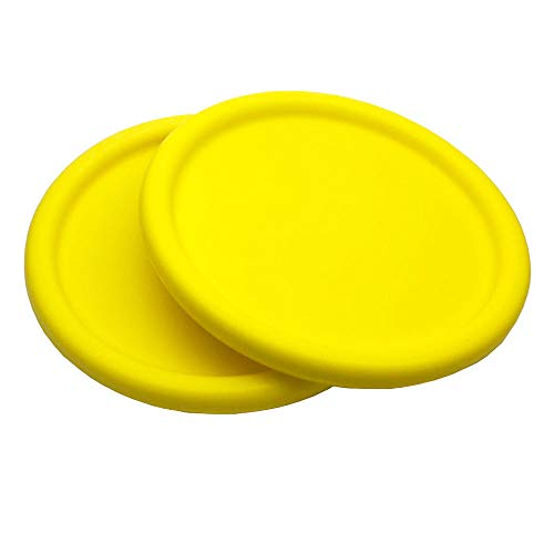 Systreek 2 Pack Foam Frisbee for Kids Round Edge Soft Frisbee for Kindergarten Teaching Indoor and Outdoor Flying Frisbee for Improving Accuracy Agility HandEye Coordination Training Yellow