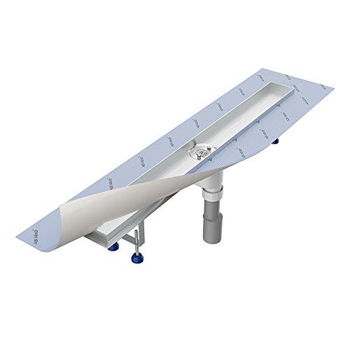 Grundkörper-SET für Duschrinne 80 cm AQUABAD® SDS Pro aus Edelstahl inkl. Haarsieb/Viega Ablauf senkrecht/Bodenablauf, Duschablauf, Ablaufrinne (Ohne Abdeckung - separat erhältlich)