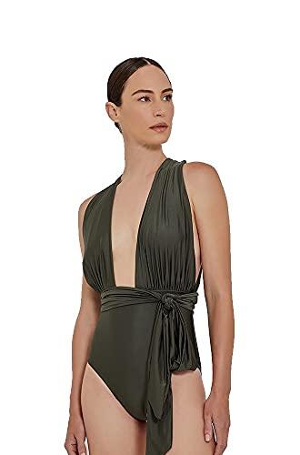 Lenny Niemeyer Chic Halter One Piece Swimsuit Fog Khaki Grey, Multi Way Swimsuit (Medium, m)