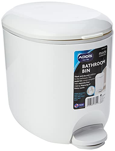 Addis 518503 Premium Deluxe Bathroom Pedal Bin with inner, 3.5 litre, White Grey, 29 x 18.5 x 23cm