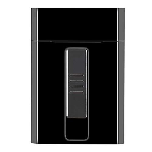 Caja de cigarrillos portátil con USB recargable encendedor eléctrico para todo el paquete de cigarrillos, 20 unidades, funda impermeable para acampar al aire libre, senderismo, color marrón
