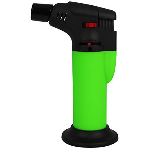 TW24 Gasbrenner Neon mit Farbwahl Flambierbrenner Mini Küchenbrenner Crème Brûlée Flambierer Sturmfeuerzeug (Grün)