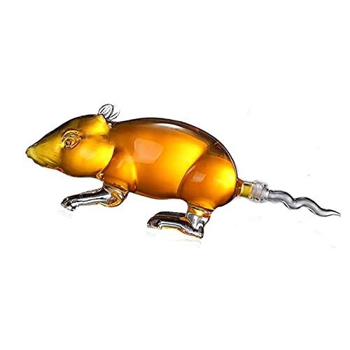 Lujo Whisky Decanter Animal Mouse Formado Estilo Home Car Decantadores de Vino Libre de Plomo Vodka Shochu Pot para Licor Scotch Bourbon 500ml / 1000ml 821 (Size : 500ML)
