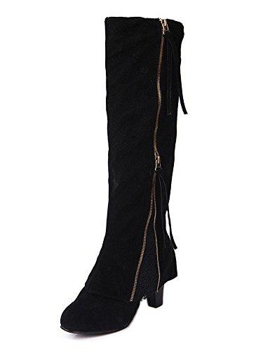 Minetom Basic Damen Overknees | Schleifen Stiefel Velours | Samt Schuhe Flach | Langschaftstiefel | Overknee Boots Blockabsatz Schwarz EU 38