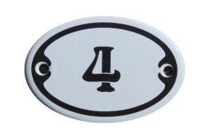 Nummer 4 mini Emaille Schild Jugendstil ca. 4,2 x 6,2 cm Türschild Zimmer Schublade Schrank Kommode...