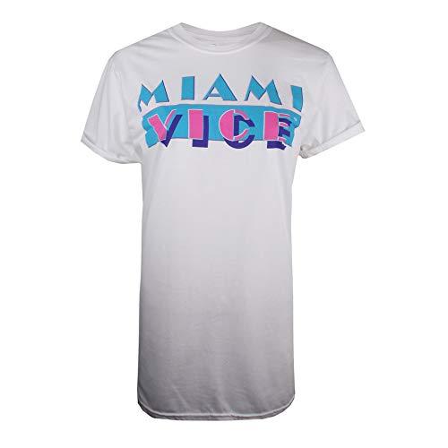 Miami Vice Logo T-Shirt, Bianco (White White), 42 (Taglia Produttore: Small) Donna