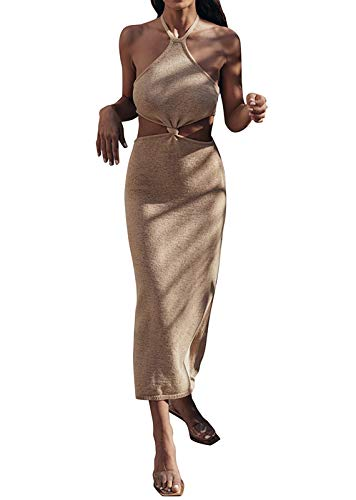 Womens Sexy Knit Cut Out Casual Summer Beach Long Dress Halter Neck Lace Up Bodycon Club Party Maxi Dresses (SUM3322A-Beige,S)
