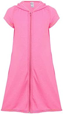 DAYU Girls Terry Hooded Swim Cover Up with Zipper Pink product image