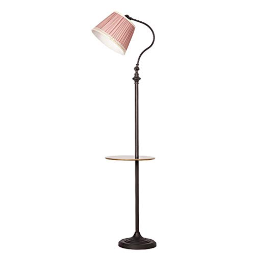 XHH Retro Iron Art Floor Lamp, Multi-Color Optional, Cloth Lampshade, Living Room/Bedroom Vertical Floor Lamp (Color : Sand Black)(Simple retro wild)