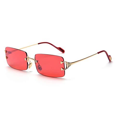 SDinm Rimless Sunglasses 90s Frameless Rectangle Tinted Lens Eyewear Red Sunglasses for Women Men
