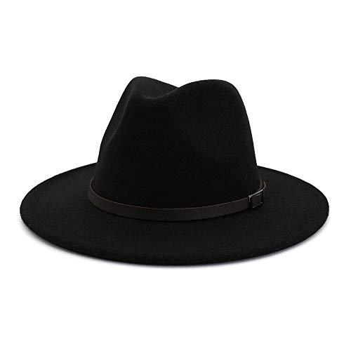 Epissche AliExpress Amazon Sombreros de Lana Hombres y Mujeres Sombreros de Pareja Elegante Caballero Jazz Aleros Planos Sombrero de ala Grande MNDJS211-black_58cm