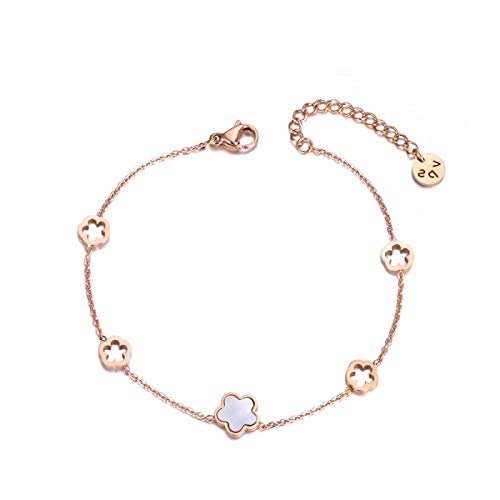 siqiwl Bracelet Trendy Stainless Steel White Shell Flower Charm Bracelets For Women Girls Chain Link Bracelet Jewelry RoseGoldColor