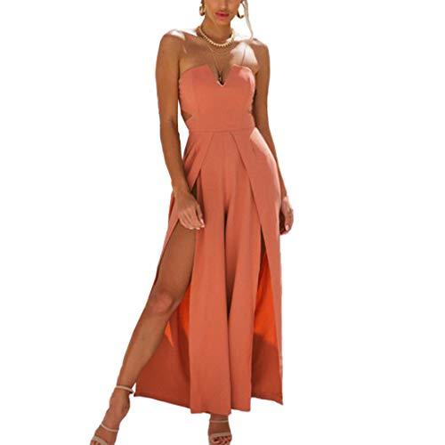 Smalltile zomerbroek voor dames, modieus, met gleuven, casual kleuren, lang, jumpsuit, breed been