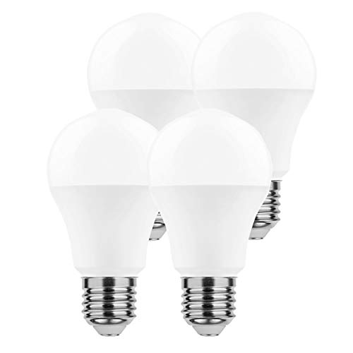 LumCa 4er Pack A60 LED Glühbirne 9W tageslicht E27 ersetzt 58W   6000 Kelvin   850 Lumen   nicht dimmbar  ...