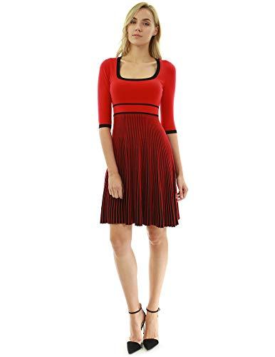PattyBoutik Damen Strickkleid mit Rundhalsausschnitt und 3/4 Ärmeln (rot und schwarz XS 34)