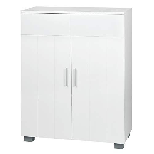 WOLTU Mueble de Baño Mueble Almacenaje Organizador para Cocina Salón y Dormitorio Armario Lateral de Baño para Almacenamiento Gabinete de de Suelo con Puertas MDF Blanco BZS50ws