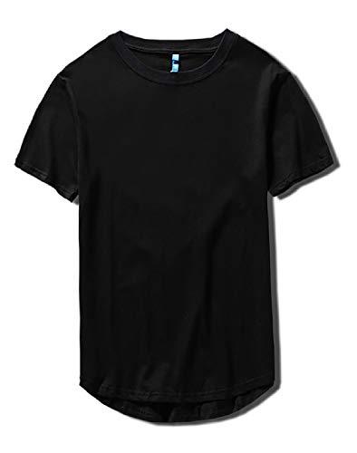 [Make 2 Be] スタイリッシュ 半袖 無地 ラウンドカット Tシャツ 前後アシメ カットソー メンズ レディース トップス 丈長 プチ ロング丈 MF93 (04.Black_2XL)