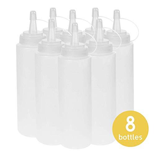 volila Squeeze Flaschen mit Kappen, 8er-Set Quetschflaschen 415ml Plastik, Condiment Flaschen für Ketchup, Senf, Mayonnaise, Öl und mehr (8 Stück)