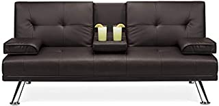 Best Choice Products Modern Faux Leather Convertible Futon Sofa Bed Recliner Couch w/Metal Legs, 2 Cup Holders - Brown