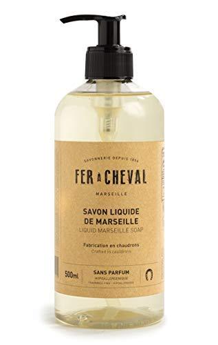 Fer à Cheval - Véritable Savon de Marseille Liquide Sans Parfum - Sans Conservateur, Sans Colorant, et Hypoallergénique, il est Doux pour la Peau des plus Sensibles - 500 ml