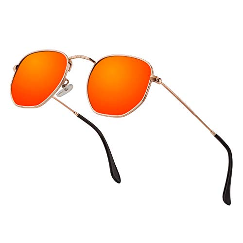 Modern Geometric Polarized Metal Slim Arms Neutral Colored Lens Hexagonal Sunglasses Men Women Square Small Vintage Frame Retro Round Mirrored Driving Fashion Shade Sun Glasses(Orange Lens/Gold Frame)