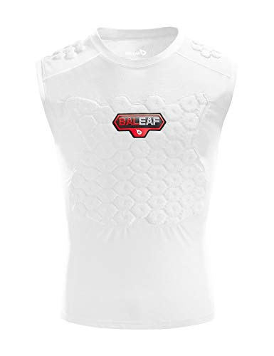 BALEAF Adult Softball Catcher Chest Protector Baseball Heart Guard Impact Padded Shirt Sternum Protection Vest for Football Lacrosse White S