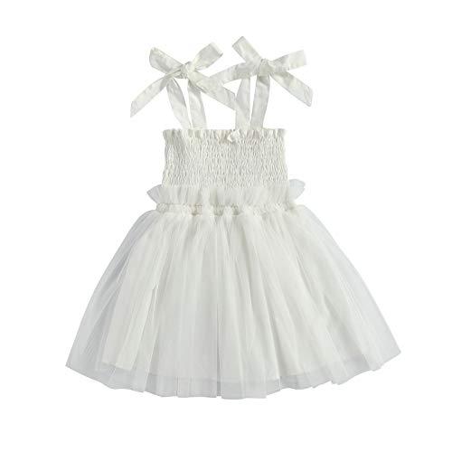 Carolilly Vestido de Tul de Verano para Niña Pequeña y Bebé Vestido de Princesa de Malla sin Mangas de Tirantes Vestido de Boda Fiesta Cumpleaños Casual para Bebé(Blanco, 18-24 Meses)