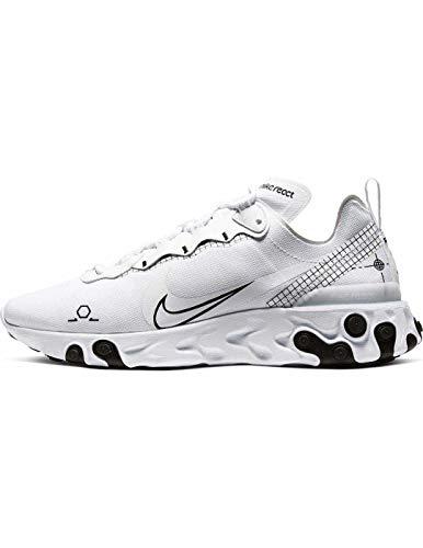 Nike React Element 55, Zapatillas para Correr para Hombre, White/Black, 40 EU