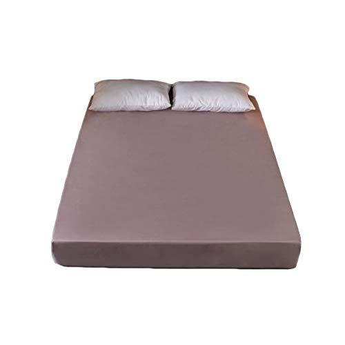 QIANGU Tela Cepillada Protector De Colchón Comodidad Durable Funda Colchón Impermeable Transpirable Antipolvo Habitaciones Hoteles (Color : Gray Pink, Size : 180x200+25cm)