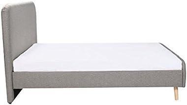 ERIKSEN Lit adulte + sommier scandinave - Tissu gris clair - l 146 x L 201 cm