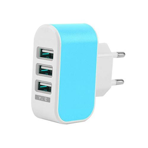 WEQQ Adaptador de Cargador de CA de Viaje en casa de Pared con Puerto USB Triple 3.1A Enchufe de la UE Azul
