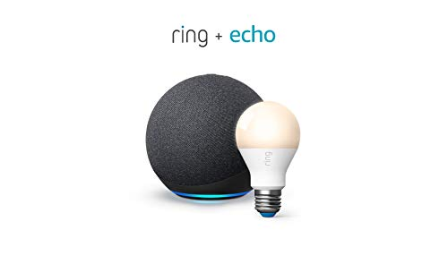 All-new Echo (4th Gen) - Charcoal - bundle with Ring A19 Smart LED Bulb, White