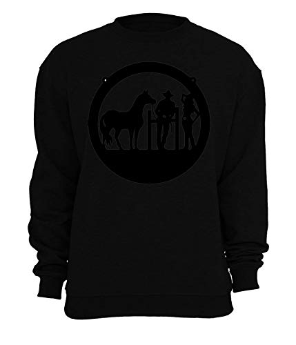 RaMedia Cowboy Cowgirl And A Horse Wild West Artwork Unisex sweatshirt