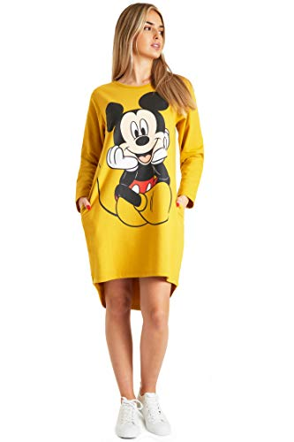 Disney Minnie & Mickey Mouse Damen Hoodie, Pullover Langarm Sweatshirtkleid für Frauen und Teens, Cute Hoodie mit Minnie & Mickey Mouse Kapuzenpullover Herbst (Senf, M)