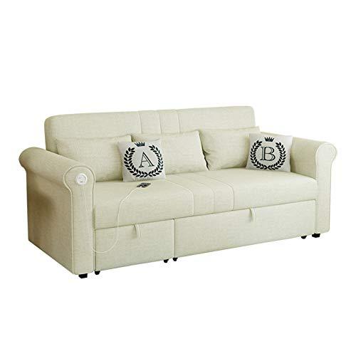 FYHpet Sofá Cama de Doble propósito Multifuncional extraíble y Lavable sofá de Ocio pequeño apartamento sofá Cama Plegable 2 plazas de Lino de Tela Convertible sofá sofá futón