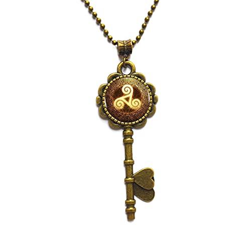 Collar con colgante único natural y perfecto con llave de triskelion de oro, collar para mujer, joyería amiga Triskele Key Collar Triskelion para hombre, PU026