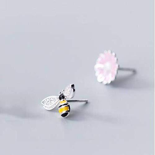 S&RL Pendientes de Plata S925 Pendientes Asimétricos de Flor de Sol de Abeja Pequeña Y Dulce para Mujer Pendientes Asimétricosrosado, Plata 925
