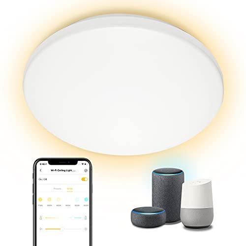 Linkind WiFi LED plafón 28W, Ø400 × 70mm CCT plafón, 5-100% regulable, 2400Lm plafón redondo superbrillante Alexa control por voz ideal para sala de estar, balcón, recibidor
