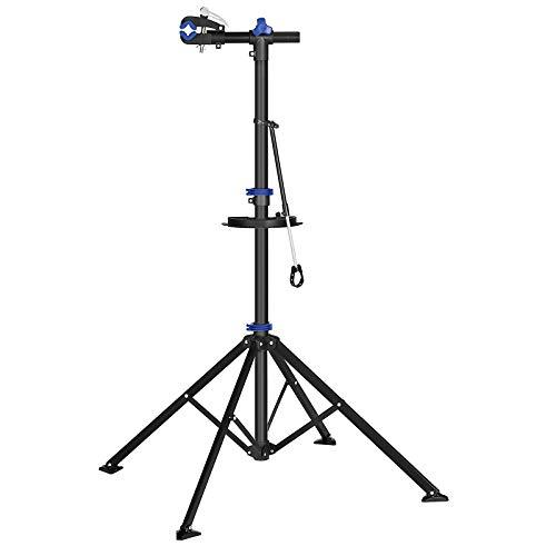 SONGMICS Fahrradmontageständer, Reparaturständer für Fahrräder, Fahrradreparaturständer für Profis, Schnelllösevorrichtung, Werkzeugschale, Lenkerhalter, leicht, tragbar, schwarz-blau SBR061B01