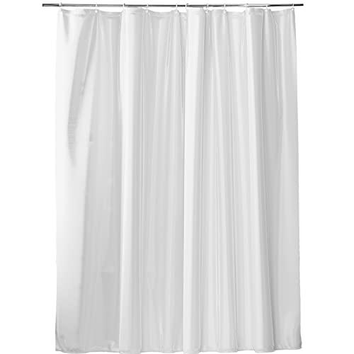 VALNEO Duschvorhang mit Anti-Schimmel-Effekt, weiß, 200 (Länge) x 180 (Breite) cm, inkl. Befestigungsringen