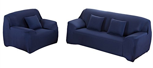 WOWTOY Sofa Cover 1 2 3 4 Seater Slip Cover Sofa Couch Stretch Elastic Fabric Sofa Protector (2 Seater, Blue)